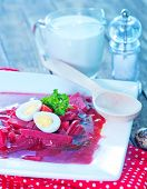 pic of lenten  - beet soup in bowl and on a table - JPG