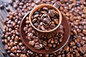 pic of pot roast  - coffee beans on the wooden table roast coffee beans - JPG
