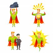 image of fiction  - Favorite fictional children superhero cartoon character with protective shield radiating power icons set abstract isolated vector illustration - JPG