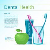 foto of toothpaste  - Dental health vector flyer or poster template - JPG
