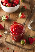 pic of jar jelly  - Homemade Organic Strawberry Jelly in a Jar - JPG