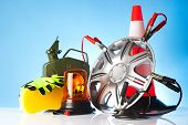 stock photo of cone  - car accessories with fuel can and traffic cone - JPG