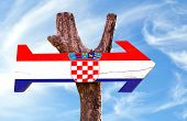 stock photo of velika  - Croatia wooden sign with sky background - JPG