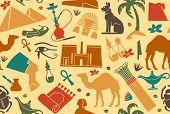 pic of nefertiti  - Seamless background with traditional symbols of Egypt - JPG