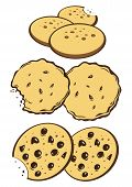 pic of biscuits  - 3 type of different cookies biscuits graphic style - JPG