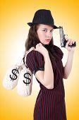 picture of gangster  - Woman gangster with gun and money - JPG