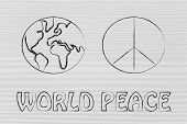 image of peace  - peace symbol and globe - JPG