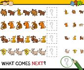 picture of brain-teaser  - Cartoon Illustration of Completing the Pattern Educational Game for Preschool Children - JPG
