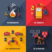 stock photo of petroleum  - Petroleum design concept set with petrochemistry oil products transportation and extraction flat icons isolated vector illustration - JPG