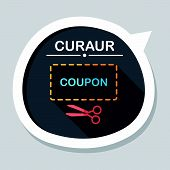 pic of coupon  - Shopping Sale Coupon Flat Icon With Long Shadow - JPG
