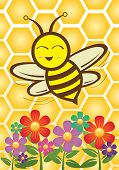 pic of bee cartoon  - Happy flying cartoon bee at flower farm - JPG