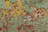 picture of oxidation  - abstract corroded colorful wallpaper grunge background iron rusty artistic wall peeling paint - JPG
