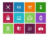picture of drone  - Rotorcraft drone icons on color background - JPG