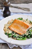 image of kidney beans  - Fried salmon with brown rice - JPG