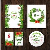 picture of marriage ceremony  - wedding invitation cards with tropical plants and flowers - JPG