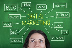 stock photo of marketing plan  - Digital marketing concept with blog - JPG