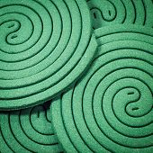 image of mosquito repellent  - Close up mosquito repellent coils are stacked - JPG