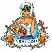 foto of meals wheels  - Seafood Grill label design with ribbon banner and sample text - JPG