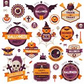 ������, ������: Set Of Vintage Happy Halloween Badges and Labels