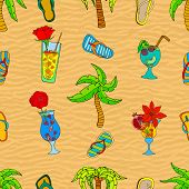 stock photo of sand lilies  - Summer related seamless pattern on hot sand - JPG