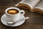 picture of continent  - Still life photography of hot coffee beverage with map of Asia continent - JPG