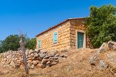 pic of stone house  - Typically rural landscape of South Corsica France - JPG
