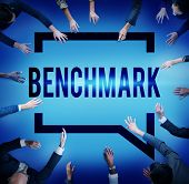 foto of average man  - Benchmark Standard Management Improvement Benchmarking Concept - JPG