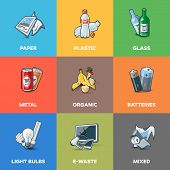 Постер, плакат: Trash Waste Recycling Categories Types