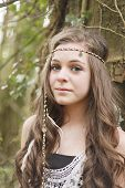 picture of hippy  - Beautiful teenage girl styled in a hippy look - JPG