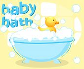 stock photo of baby duck  - Plastic duck in a baby bathtub  - JPG