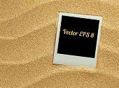 foto of polaroid  - Summer like retro style empty polaroid photo card lying on a sea sand - JPG
