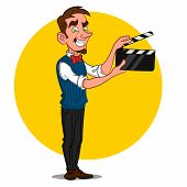 stock photo of caricatures  - man with film slate - JPG