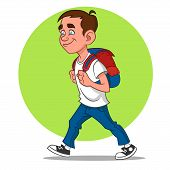 foto of caricatures  - schoolboy goes to school - JPG