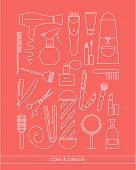 Постер, плакат: Beauty&care Line Icons Set For Barber Shop Or Beauty Salon