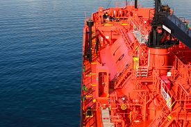 picture of fuel tanker  - Red Liquefied Petroleum Gas tanker bow with equipment - JPG