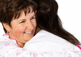 picture of crippled  - Senior woman and nurse hugging - JPG