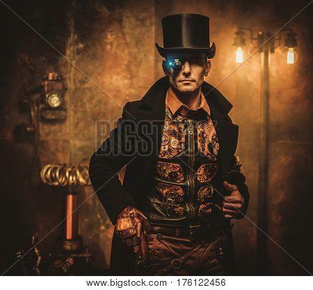 Steampunk man with gun on