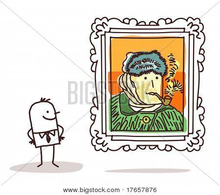 Постер, плакат: человек наблюдая известных живопись, холст на подрамнике