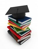 3D Illustration of Books and a Graduation Cap