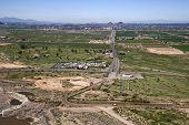 image of pima  - Aerial view of McDowell Road from State Route 87 leading directly through the reservation into Phoenix - JPG