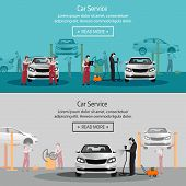 Car Repair, Flat Horizontal Banner, Maintenance Of Tires, Workers In The Process Of Car Repair, Pain poster