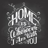Home Is Wherever I Am With You Chalkboard Sign poster