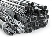 Different metal products. Stainless steel profiles and tubes. 3d illustration poster