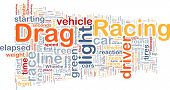 Concept diagram wordcloud illustration of drag racing race