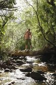 Teenage boy (16-17 years) standing on tree trunk above stream, looking up