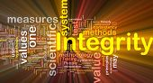 Background concept wordcloud illustration of integrity glowing light