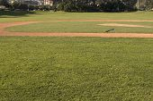 Empty Ballfield And Bat