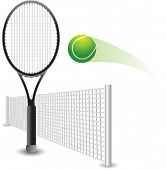 Tennis ball hitting racket