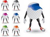 cartoon golf balls with hats