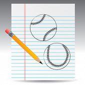notebook paper and baseballs